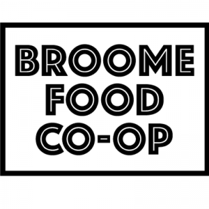 The values of the Broome Food Co-op are: building our community by working together, reducing packaging waste by buying in bulk, and addressing food security by make health food accessible.